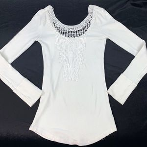 FREE PEOPLE White Lace Neck Low Back Thermal Top L